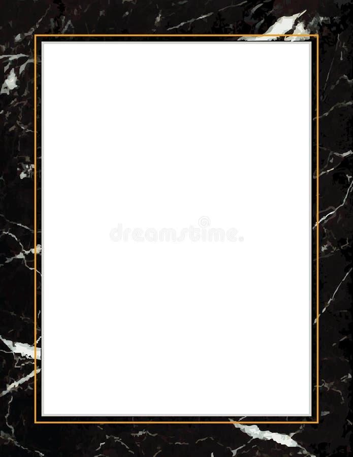 Black Marble Frame Gold Trim Stock Vector Illustration