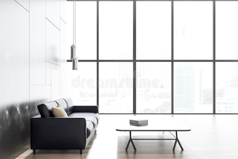 Black marble living room, black sofa vector illustration