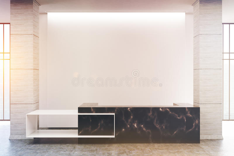 Black marble reception counter, toned. Black marble reception counter of an original construction is standing near a blank white wall in an office hall. 3d vector illustration