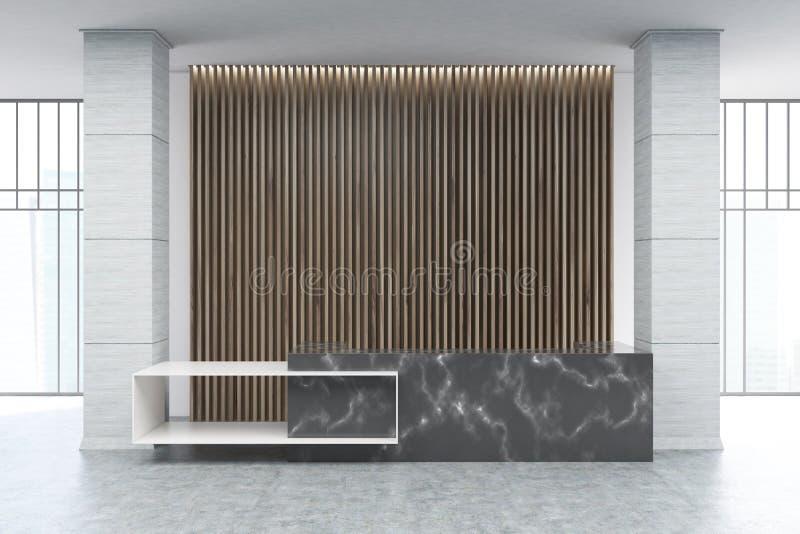 Black Marble Reception Wood Blinds Stock Illustration