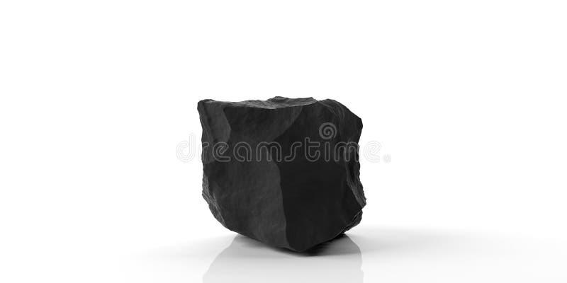 Black marble rock on white background. 3d illustration royalty free illustration