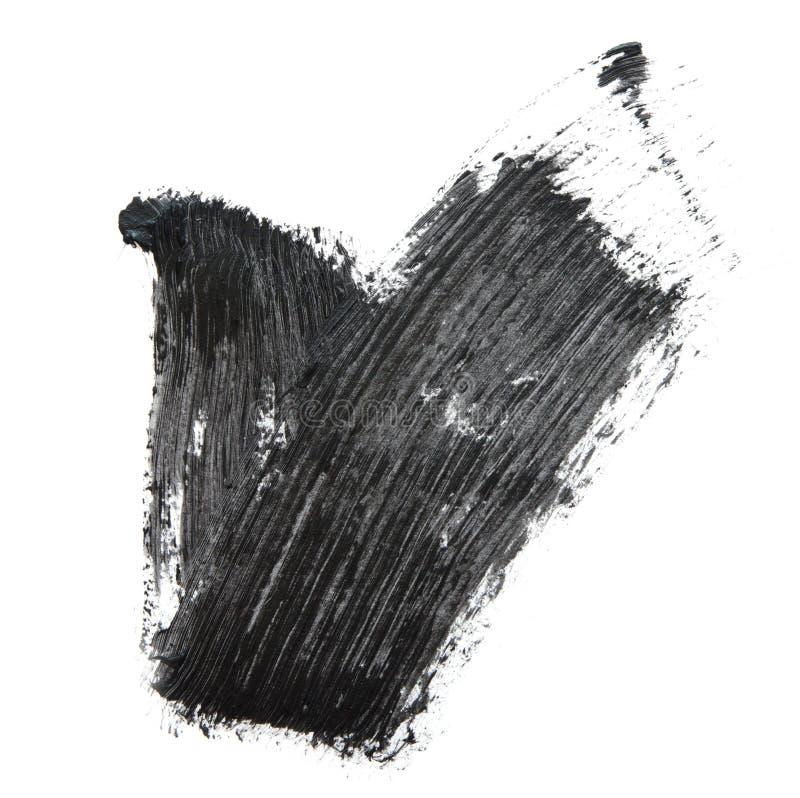 Black mascara brush strokes isolated on white. royalty free stock photos