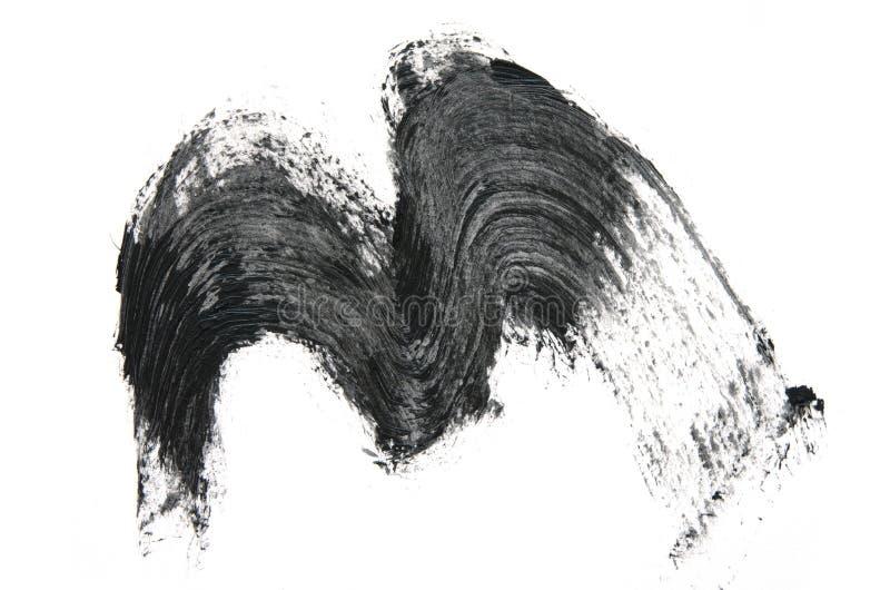 Black mascara brush strokes isolated on white. Image stock photo
