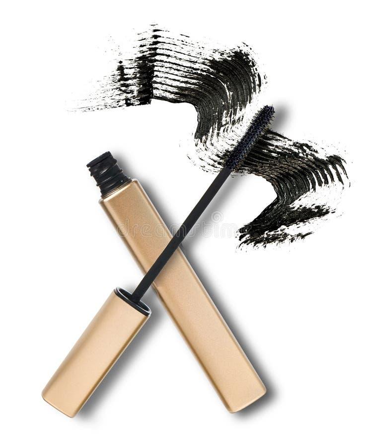 Black mascara. Mascara, wand applicator and black stroke against white background stock photography