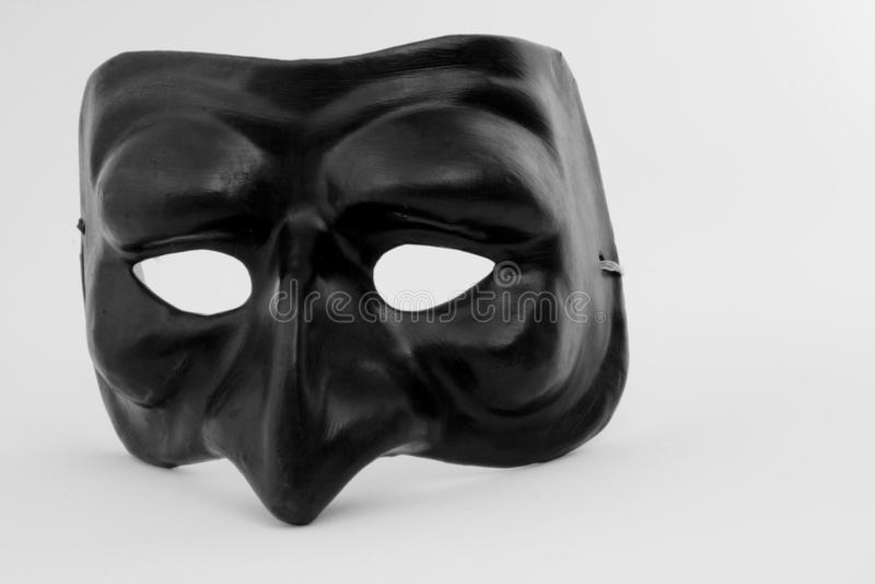 Black Mask. Black Italian Mask, Pulcinella comedy royalty free stock photo