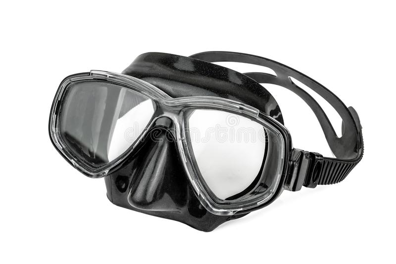 Black mask for diving. Isolated on white stock photos