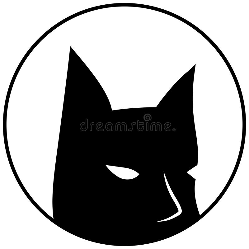 Black mask with sharp ears. Batman round vector logo on white background. Bat mask with eyes. Creepy mask for Halloween. Bat man icon. Black and white vector illustration