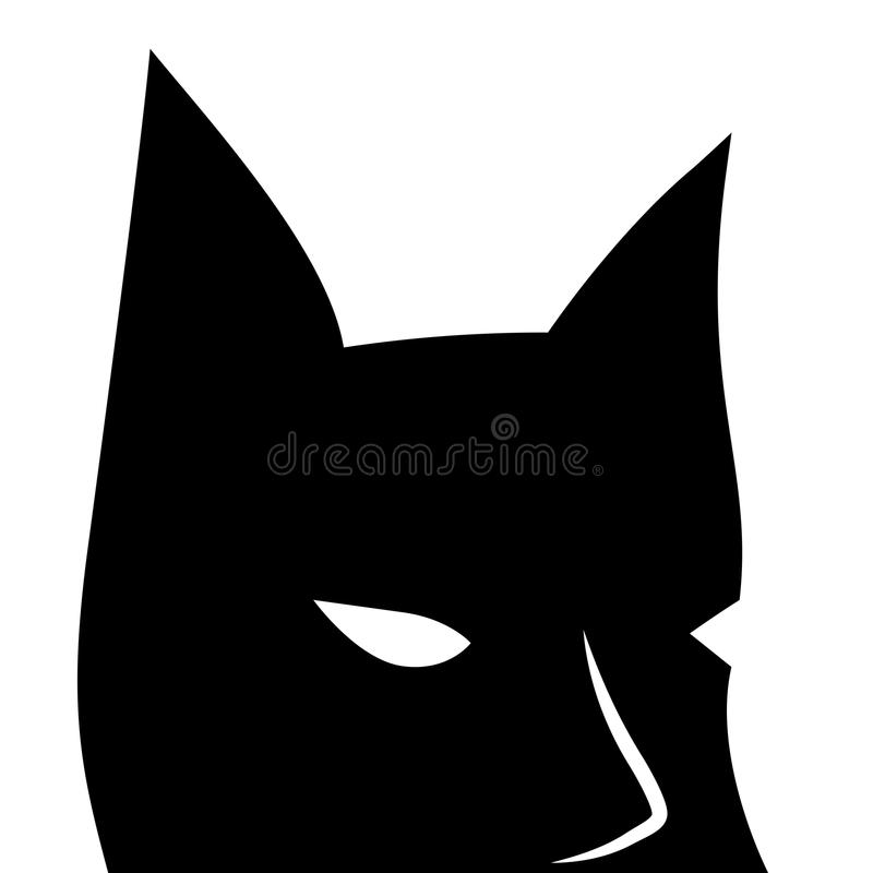 Black mask with sharp ears. Batman square vector logo on white background. Bat mask with eyes. Creepy mask for Halloween. Bat man icon. Black and white vector illustration