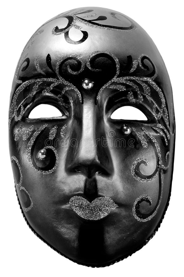 Black masquerade mask. On a white background royalty free stock photography
