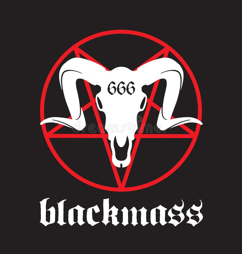Black Mass design. Featuring pentagram and goat skull with 666 marking royalty free illustration