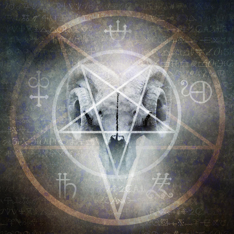 Black Mass. Montage of occult goat skull overlaid with a Satanic pentagram materialising against a grunge texture background of alchemy symbols royalty free stock photo