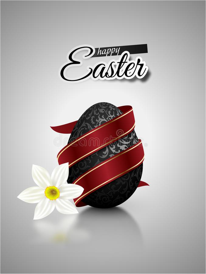 Black mat realistic egg with metallic floral pattern diagonal wrapped red ribbon. Gray background reflection and white narcissus royalty free illustration