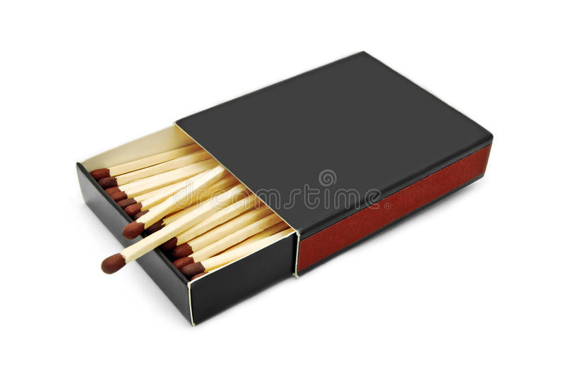 Black matchbox. Isolated on white royalty free stock photography