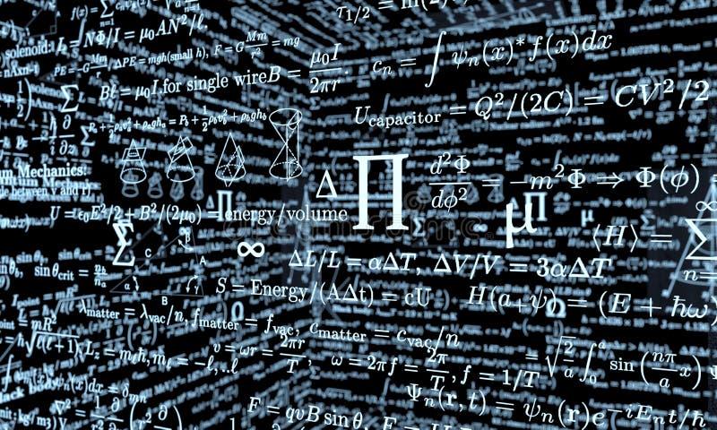 Black mathematics board with formulas vector illustration