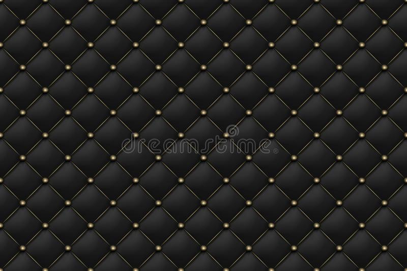 Black matte leather texture seamless pattern. Background upholstery rich sofa and luxury sofa. Vector abstract antique stock illustration