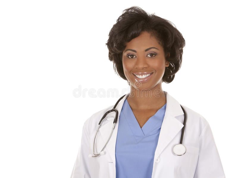 Black medical doctor. Black doctor wearing scrubs and lab coat on white isolated background stock image
