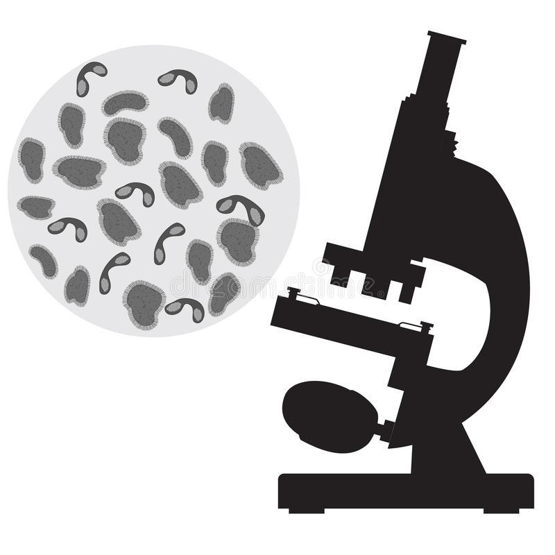 Black medical microscope and bacterium. royalty free illustration