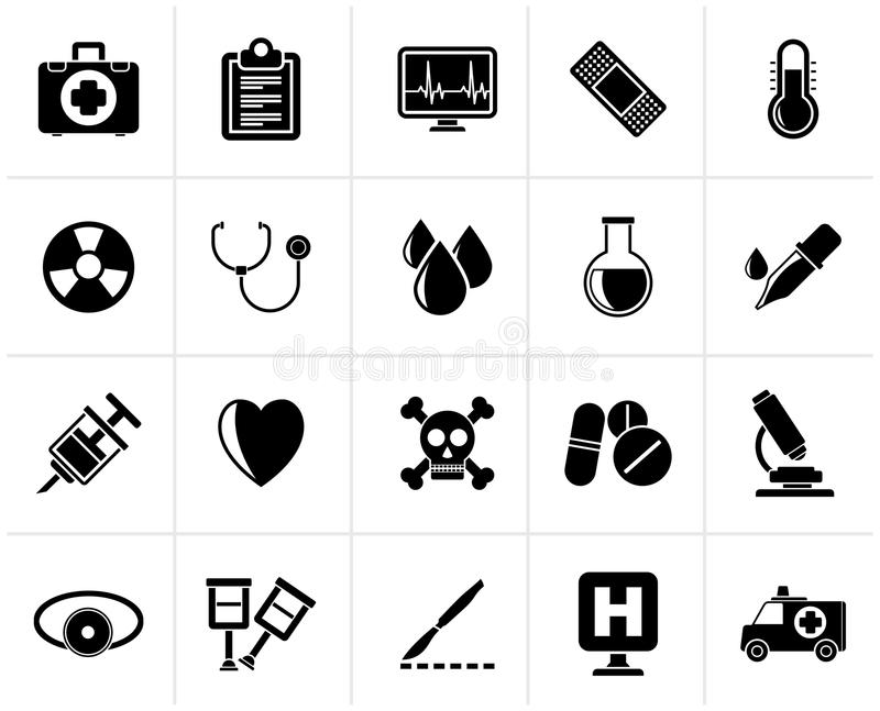 Black medical tools and health care equipment icons vector illustration