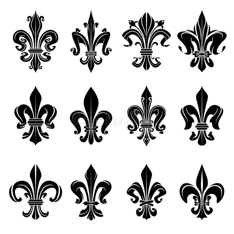 Black medieval royal fleur-de-lis symbols royalty free illustration