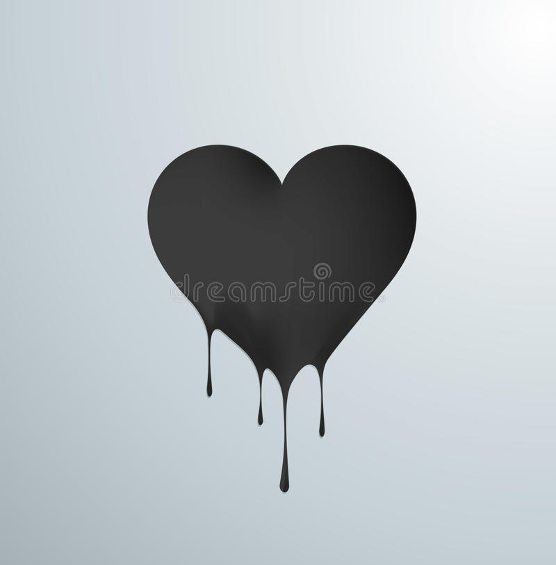 Free Black Melting Heart With Drops. Stock Photo - 49318320