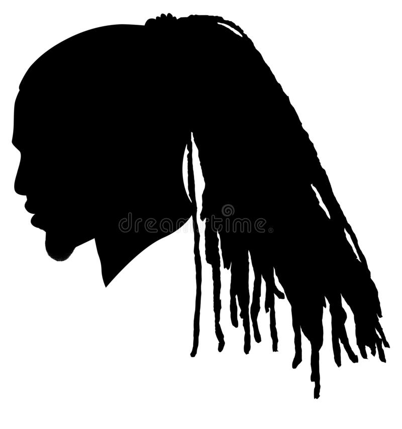 Free Black Men African American, African Profile Picture Silhouette. Man From The Side With Afroharren. Long Dreads, Long Dreadlocks Ha Royalty Free Stock Photo - 190598705