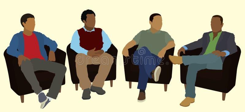 Black Men Bonding stock illustration