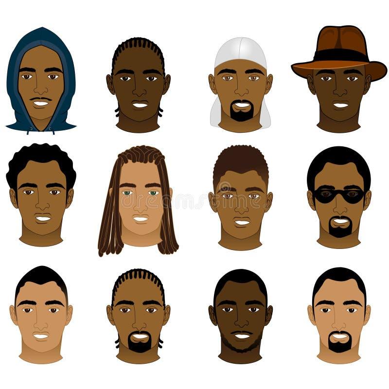 Black Men Faces stock illustration