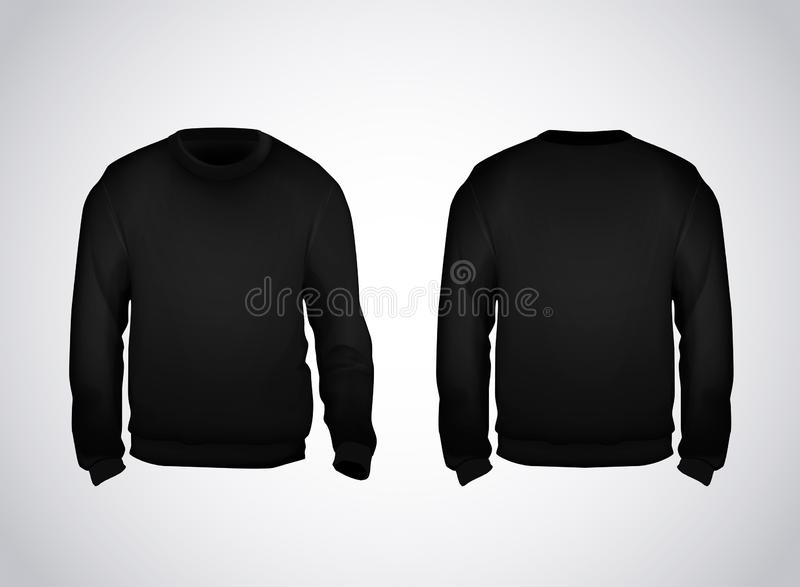 Black men`s sweatshirt template front and back view. Hoodie for branding or advertising royalty free illustration