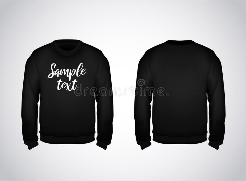 Black men`s sweatshirt template with sample text front and back view. Hoodie for branding or advertising royalty free illustration