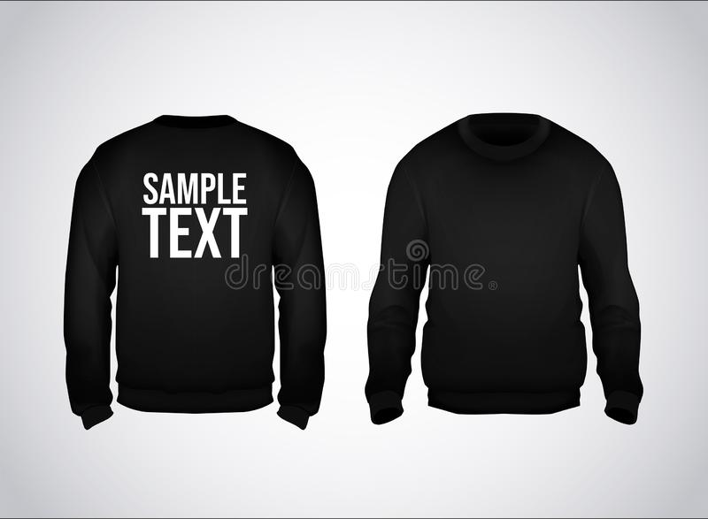 Black men's sweatshirt template with sample text front and back view. Hoodie for branding or advertising stock illustration