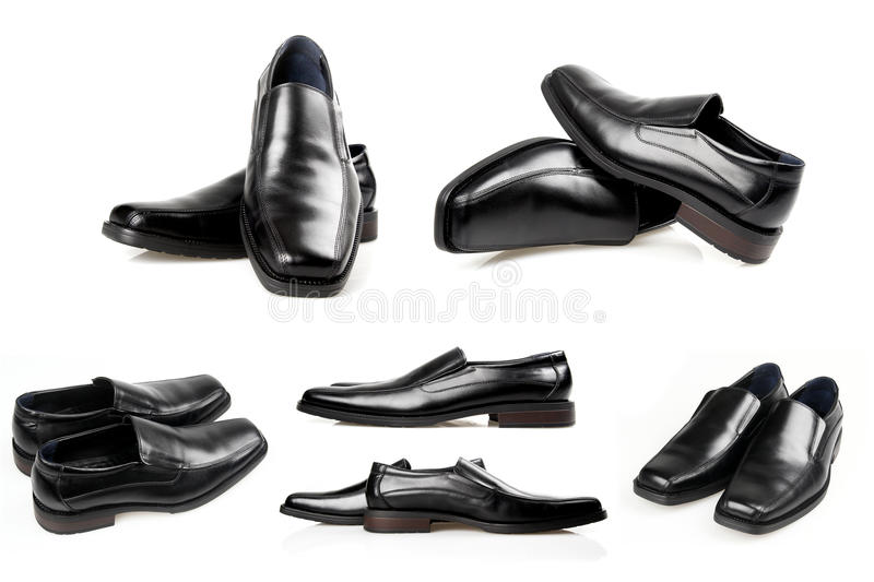 Black men shoes on a white background. stock images