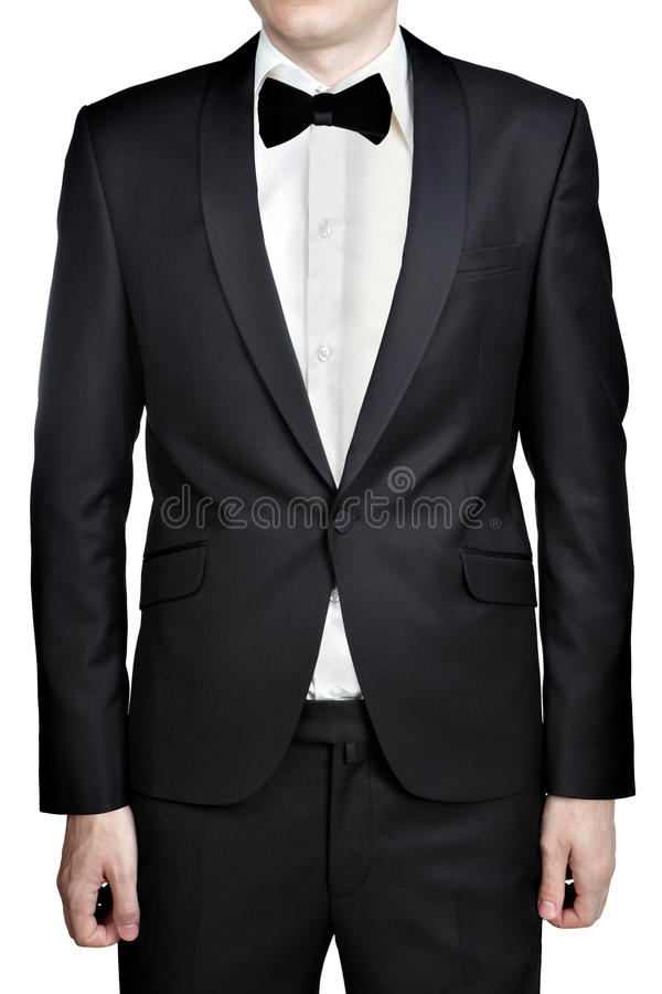 Black Men Wedding Suit Jacket, Shirt And Tie Butterfly Isolated ...
