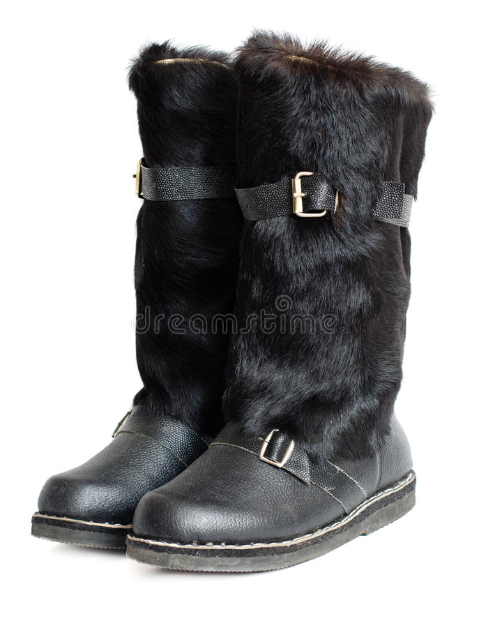 Black Mens Mukluk Boots Stock Photography