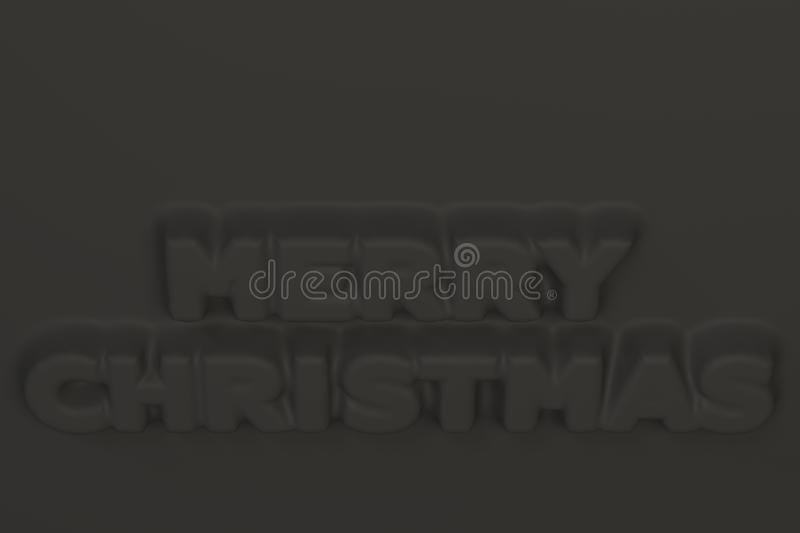Black Merry Christmas words bas-relief. Christmas sign. 3D rendering illustration stock illustration