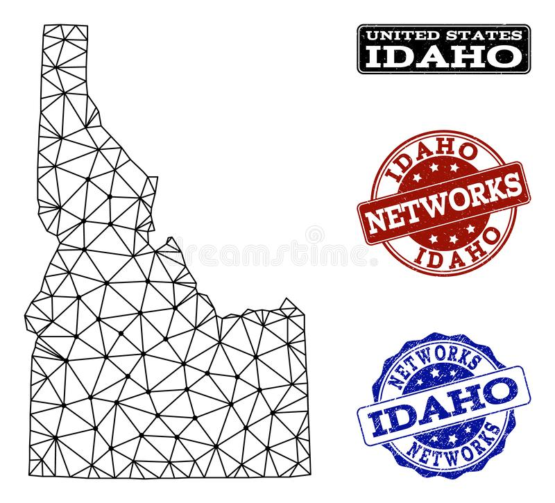 Polygonal Network Mesh Vector Map of Idaho State and Network Grunge Stamps. Black mesh vector map of Idaho State isolated on a white background and rubber vector illustration