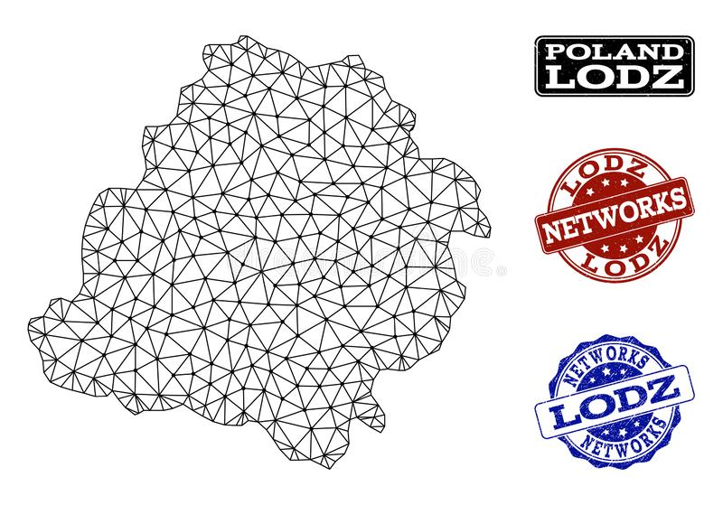 Polygonal Network Mesh Vector Map of Lodz Province and Network Grunge Stamps stock illustration