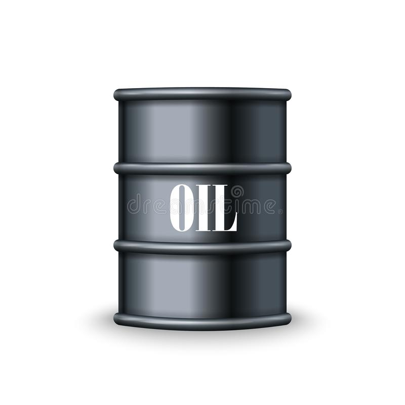 Black metal barrel of oil vector royalty free illustration