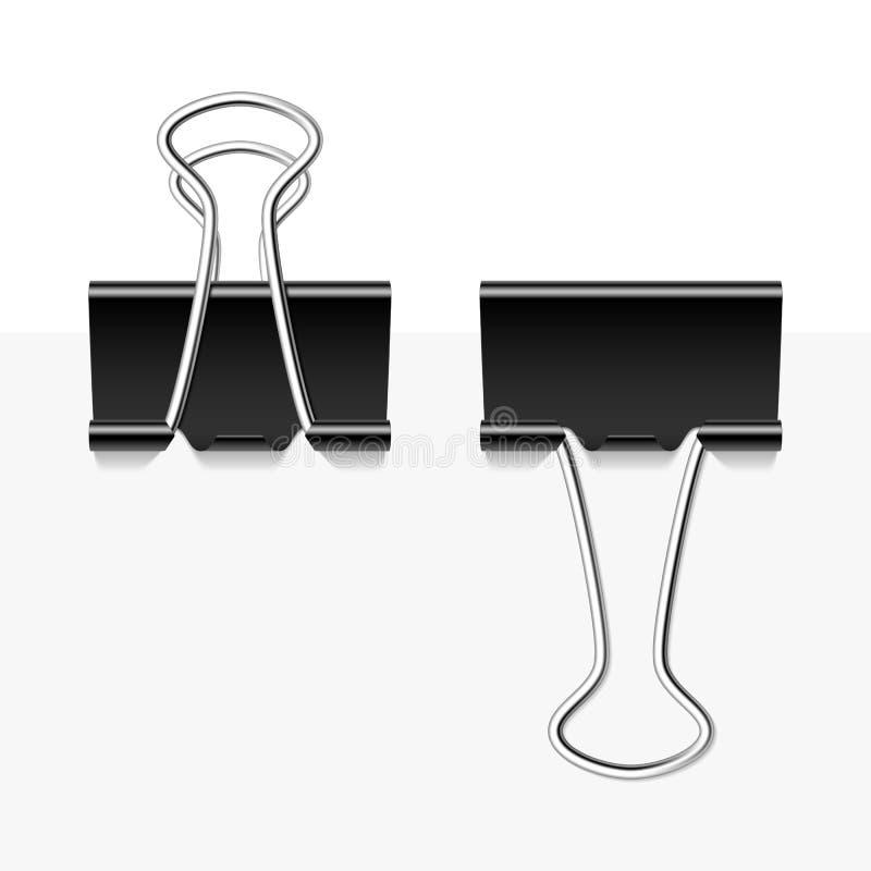 Black metal binder clips stock illustration