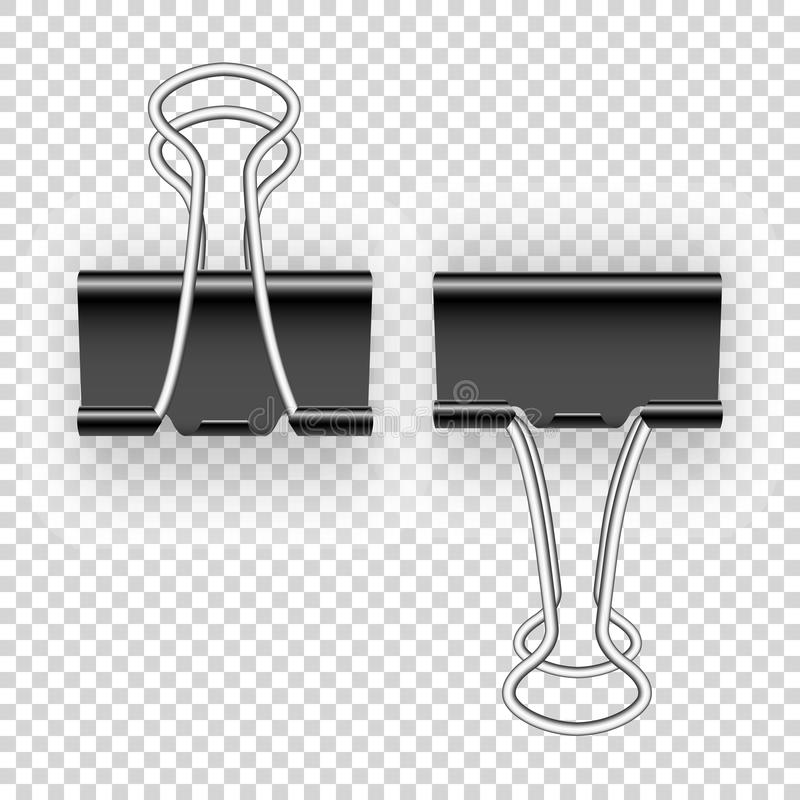 Black metal binding clips for paper money, documents. Easily editable EPS all layers arranged by Vector vector illustration
