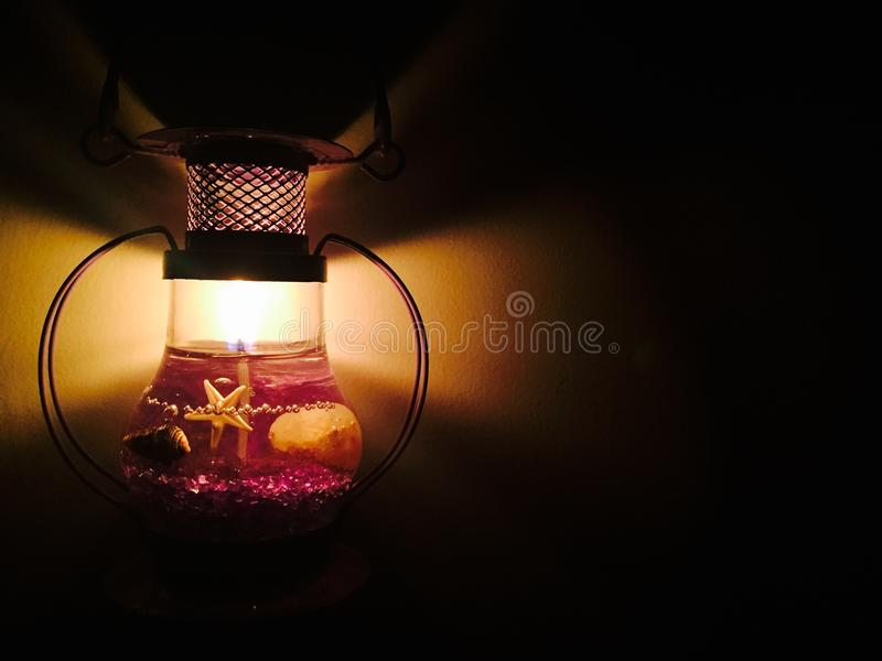 Black Metal Framed Glass Table Lamp stock image
