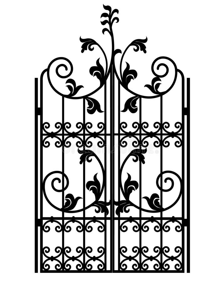 Black metal gate. With forged ornaments on a white background royalty free illustration