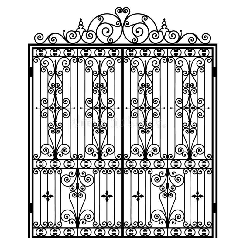 Black metal gate. With forged ornaments on a white background stock illustration