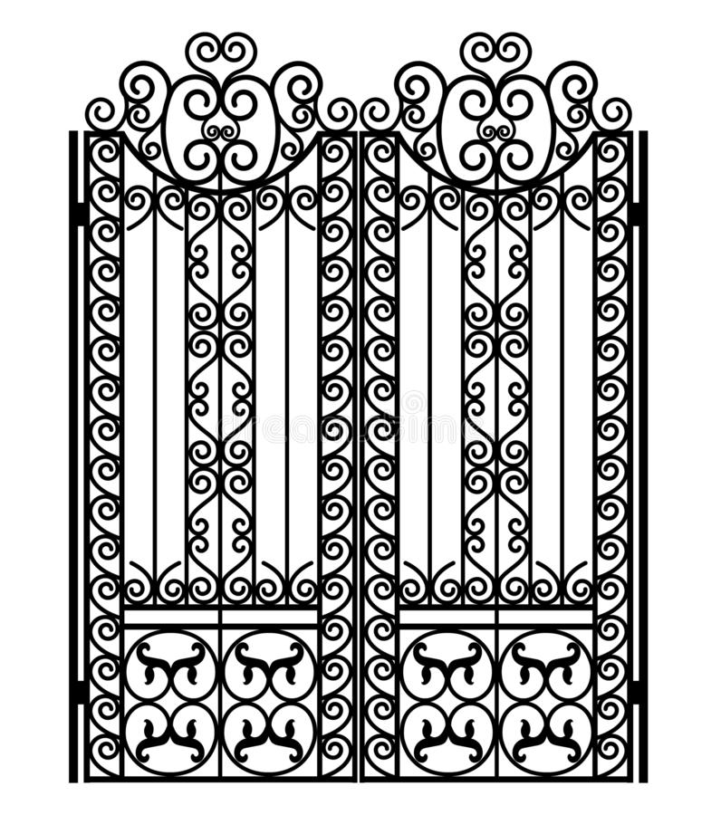 Black metal gate. With forged ornaments on a white background vector illustration