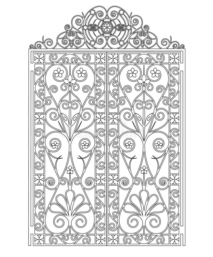 Forged iron gate. Black metal gate with forged ornaments on a white background vector illustration