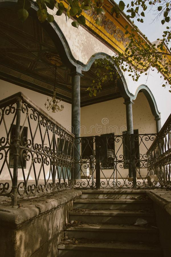 Black Metal Gate Beside House royalty free stock photo