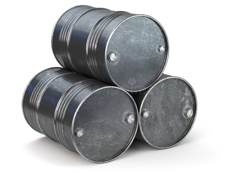 Black metal oil barrels isolated on white background. Oil and petroleum industry vector illustration