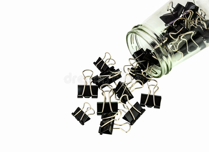 Black metal paperclips royalty free stock image
