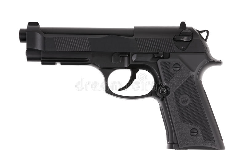 Download Black Metal Pistol With The Trigger Stock Image - Image of isolated, automatic: 22366311
