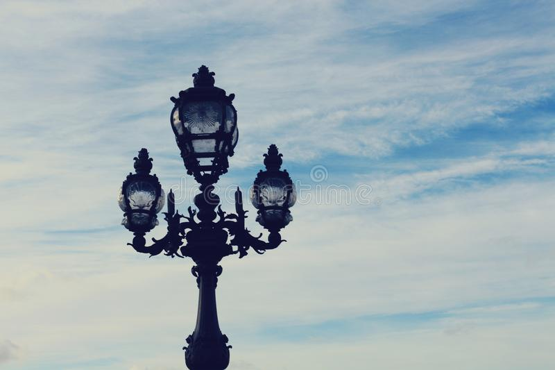 Black 3-in-1 Metal Post Under Blue and White Sky stock images