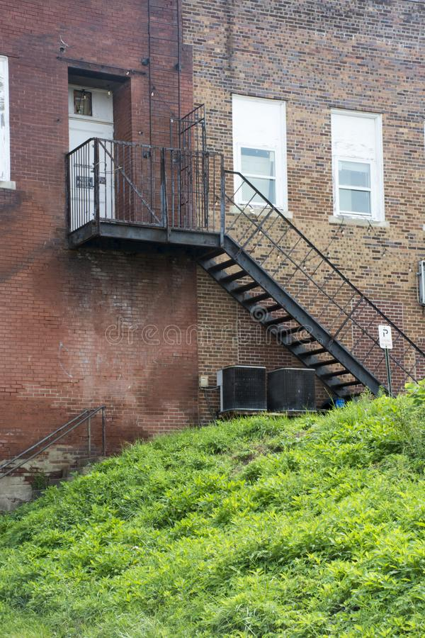 Black fire escape stairway royalty free stock photos